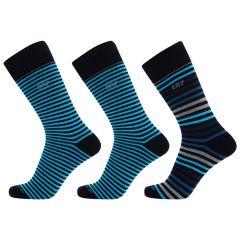 3-pack giftbox stripe II blauw