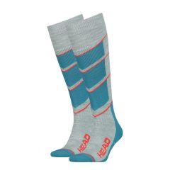 ski v-shape kneehigh II 2-pack blauw & grijs