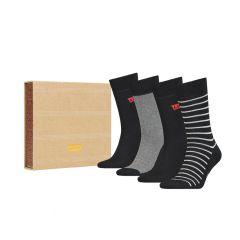 4-pack giftbox regular cut stripe & solid zwart