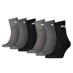 sportsokken 6-pack grijs & zwart
