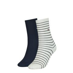 dames small stripe 2-pack wit & blauw